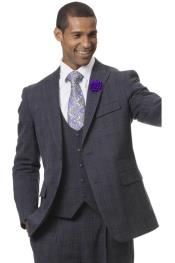 Samuel Checkered Fashion Suit Charcoal With Purple