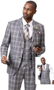 Samuel Fashion Fashion Suit Grey Plaid