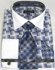 White Colorful Mens Dress Shirt