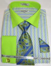 Lime Multi Colorful Mens Dress Shirt