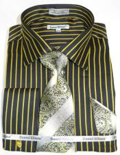 Mustard Pinstripe Colorful Mens Dress Shirt