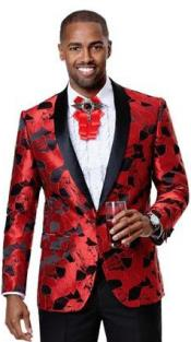Mens1ButtonFrontRedBlackShinyPatternFashionableBlazers