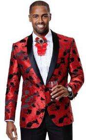 Mens1ButtonFrontRedFloralPatternPartyBlazer