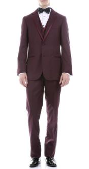 Burgundy Slim Fit 3pc Tuxedo