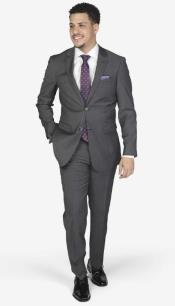 Grey Wool Spandex Slim Fit Suit