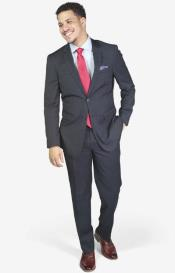 2-button Wool Slim Fit Notch Lapel Suit Navy