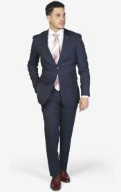 2-button Notch Lapel Wool Slim Fit Suit Royal Blue