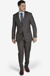 2-button Notch Lapel Wool Slim Fit Suit Brown