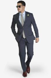 2-button Notch Lapel Wool Slim Fit Suit Blue Windowpane