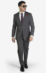 2-button Notch Lapel Wool Slim Fit Suit Medium Grey