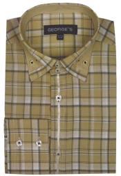PatternedDressShirt-MensBeigePlaidFashionShirts