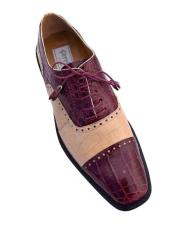 Burgundy Color Classy Cap Toe Style Alligator Shoes