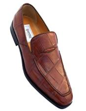 Cognac Brown Color Italian Crocodile Loafers Shoes