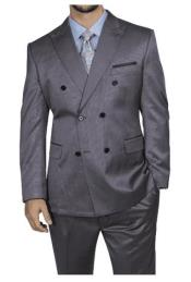 Steve Harvey Gray Six Button Jacket Double Breasted Suit