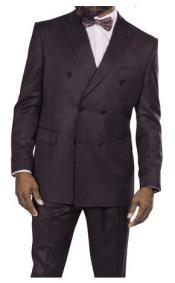 Steve Harvey Plum Six Button Jacket Double Breasted Suit