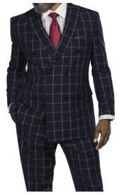 Steve Harvey Black Windowpane Six Button Jacket Double Breasted