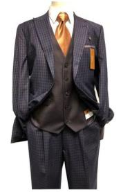 Steve Harvey Navy - Brown Two Button Jacket Single