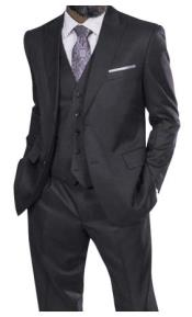 Steve Harvey Charcoal Two Button Jacket Single Breasted Suit