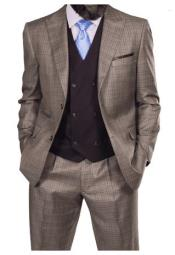 Steve Harvey Taupe Windowpane Two Button Jacket Single Breasted