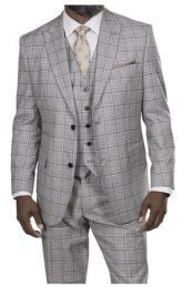 Steve Harvey Light Gray Taupe Windowpane Two Button Jacket
