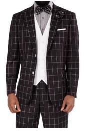 Steve Harvey Black White Square Plaid Two Button Jacket