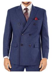 Steve Harvey Blue Pinstripe 6 Button Double Breasted Suit