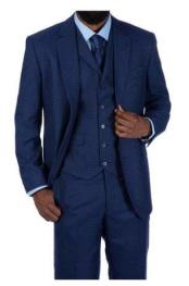 Steve Harvey Blue Houndstooth 2 Button Single Breasted Suit