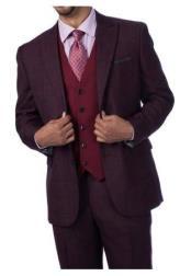 Steve Harvey Burgundy Plaid 2 Button Single Breasted Suit