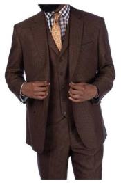 Steve Harvey Brown Houndstooth 2 Button Single Breasted Suit