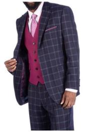Steve Harvey Charcoal Plaid 2 Button Single Breasted Suit