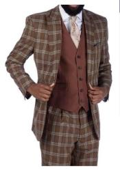 Steve Harvey Brown Plaid 2 Button Single Breasted Suit
