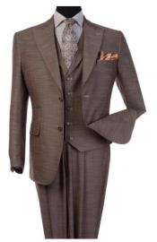 Steve Harvey Light Brown 2 Button Single Breasted Suit