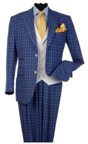Steve Harvey Blue Peak Lapel Jacket Single Breasted Suit