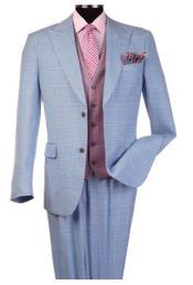 Steve Harvey Light Blue Peak Lapel Jacket Single Breasted