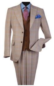 Steve Harvey Tan Plaid Pattern Single Breasted Suit 120808
