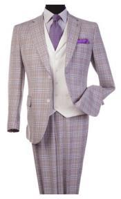 Steve Harvey Lavender Plaid Pattern Single Breasted Suit 120809