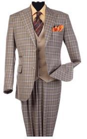 Steve Harvey Taupe Plaid Pattern Single Breasted Suit 120810