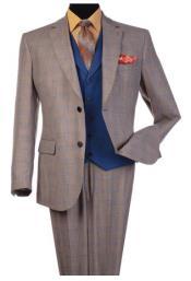 Steve Harvey Taupe Plaid Pattern Single Breasted Suit 120811