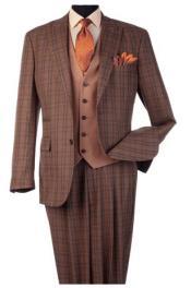 Steve Harvey Light Rust Plaid Pattern Single Breasted Suit