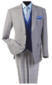 Steve Harvey Light Gray Plaid Pattern Single Breasted Suit