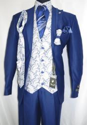 Falcone Mens Blue Paisley Vest Tie Fashion Suit City