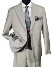 Falcone Mens Light Tan Suit Paisley Vest Tie Set