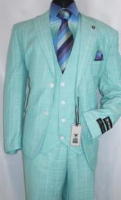 Stacy Adams Suits Mint Green Windowpane