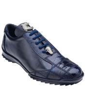 Belvedere Mens Blue Ostrich Sneaker