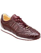Belvedere Mens Burgundy Ostrich Sneaker