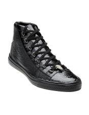 Belvedere Mens Black Exotic Sneaker