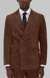 MensBrownCorduroyDoubleBreastedSuit