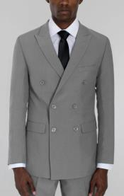 Mens Light Grey Double Breasted Suit