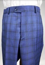 Plaid Flat Front Pants - Windowpane