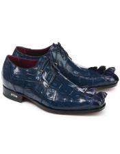 Mauri Italian Shoes Crocodile Blue Shoes